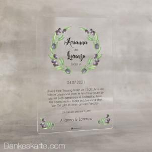 Hochzeitseinladung Acrylkarte Olivenzweige 14 x 20 cm