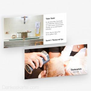 Dankeskarte Taufe Zeitlos Schön 21 x 10 cm