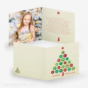 Weihnachtskarte Piktogrammbaum 14.5 x 14.5 cm