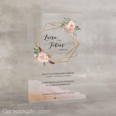 Hochzeitseinladung Acrylkarte Glamourös 14 x 20 cm