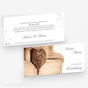 Hochzeitseinladung Imago 3 Holzherz 21 x 10 cm