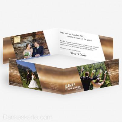 Dankeskarte Glas und Holz 21 x 10 cm