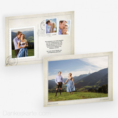 Dankeskarte Vintage Postcard 21 x 15cm