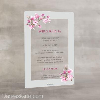 Hochzeitseinladung Acrylkarte Magnolie 2 14 x 20 cm