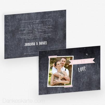 Hochzeitseinladung Chalkboard 21 x 15cm