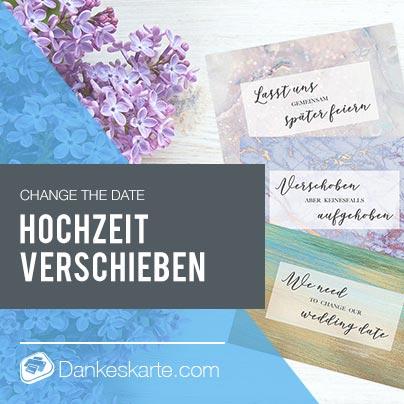 Change the Date - Hochzeit wegen Corona COVID-19 verschieben - kostenlose Vorlagen - Dankeskarte.com