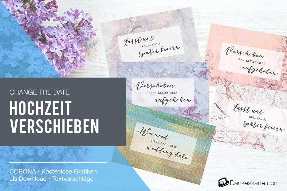 Change the Date - Hochzeit wegen Corona COVID-19 verschieben - Dankeskarte.com