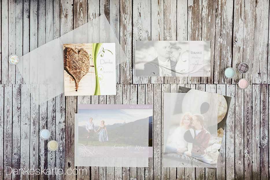 Danksagungskarten mit hübschen Kartenextras bei Dankeskarte.com