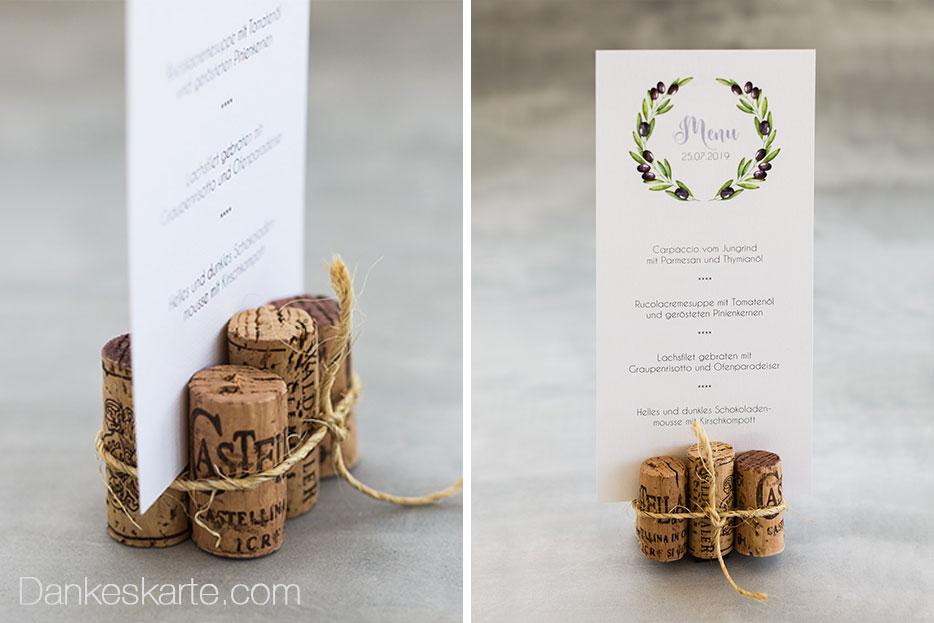 Menükarte Olivenzweige im rustikalen Stil