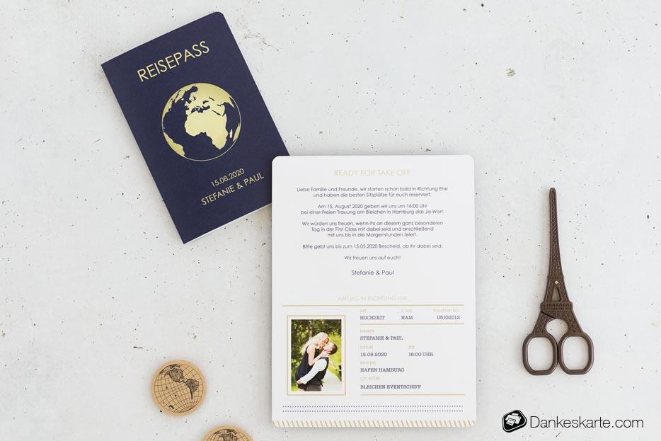 Hochzeitseinladung Reisepass Globus - Dankeskarte.com