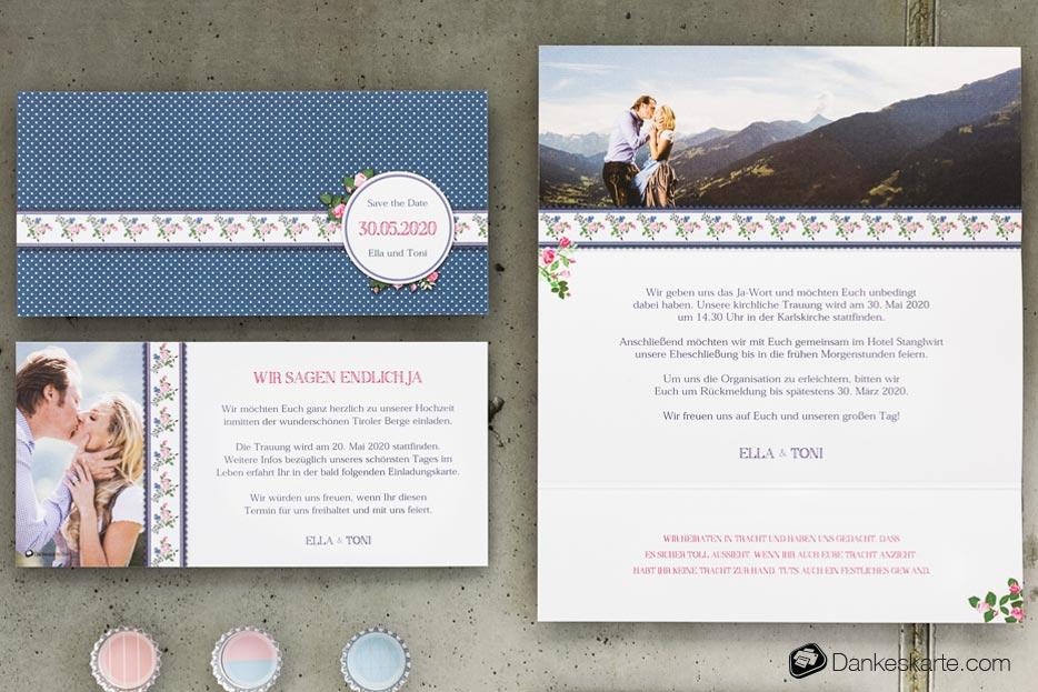 Hochzeitseinladung Dirndl - Dankeskarte.com