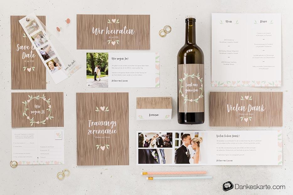 Hochzeitseinladung Naturgetreu - Dankeskarte.com