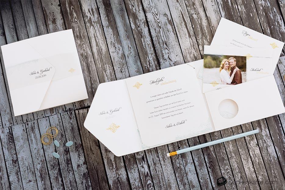 Hochzeitseinladung Pocketfold Elegance - Dankeskarte.com