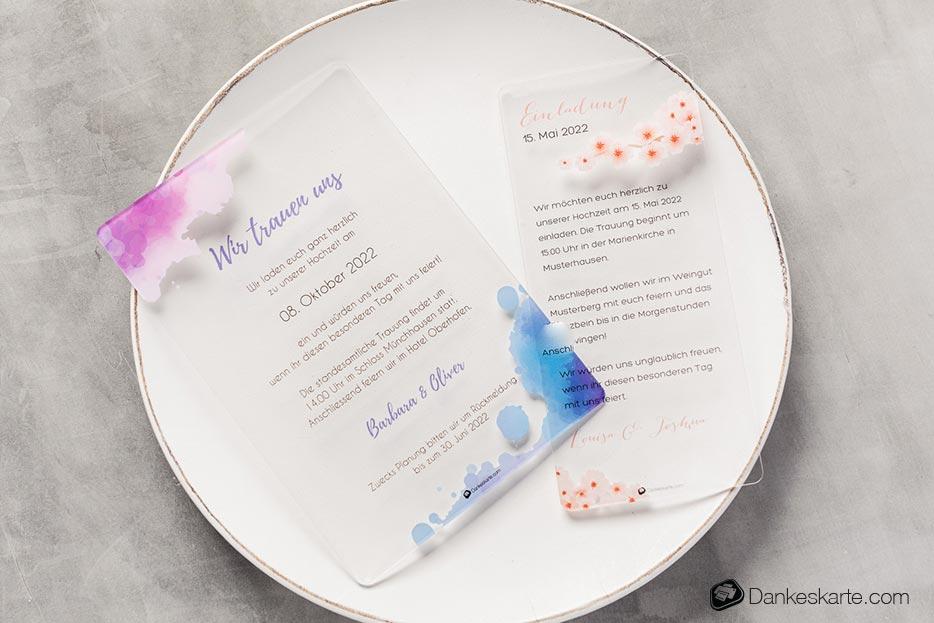 Hochzeitseinladung Acrylkarten - Dankeskarte.com