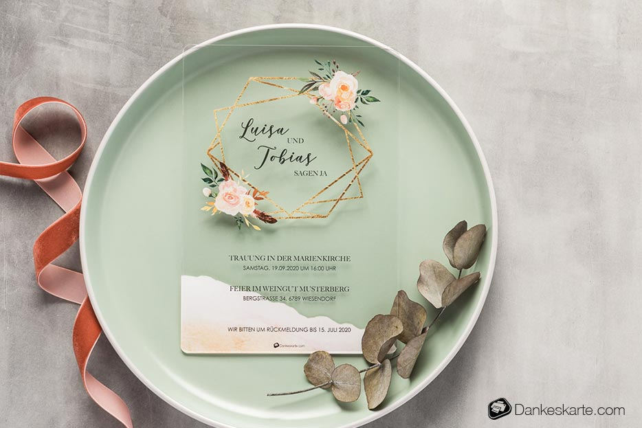 Hochzeitseinladung Acrylkarte Glamourös - Dankeskarte.com