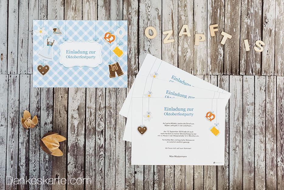 Oktoberfestparty-Einladungen für die Wiesn zu Hause