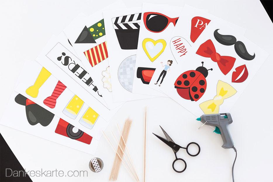 DIY Photo Booth Accessoires - Dankeskarte.com