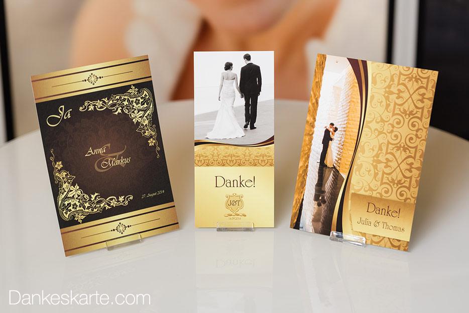 Royale Hochzeitskarten in Gold mit Schnörkel und Verzierungen
