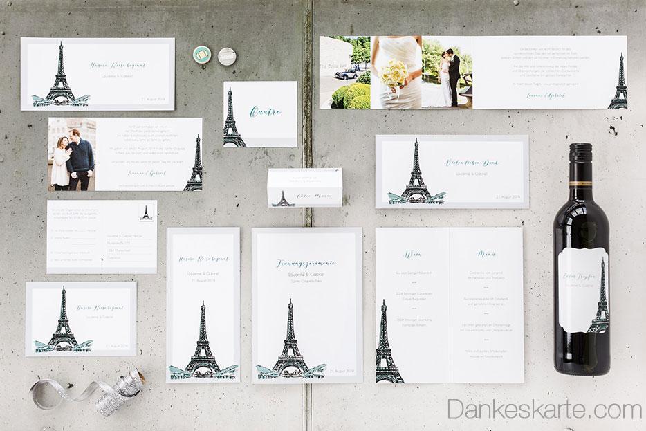 Schlichte Hochzeitspapeterie mit französischem Eiffelturm