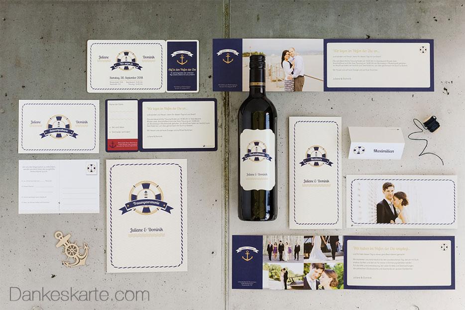 Maritime Design Serie vom Gästebuch bis hin zum Weinetikett