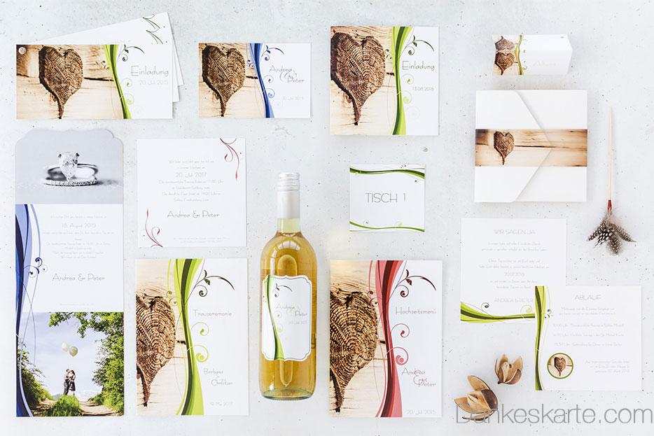 Rustikale Hochzeitskarten mit Holzherz perfekt für Trachenthochzeiten