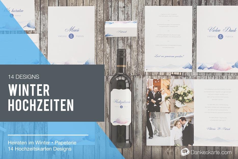 11 Hochzeitskarten-Designs für Ihre Winterhochzeit - Dankeskarte.com