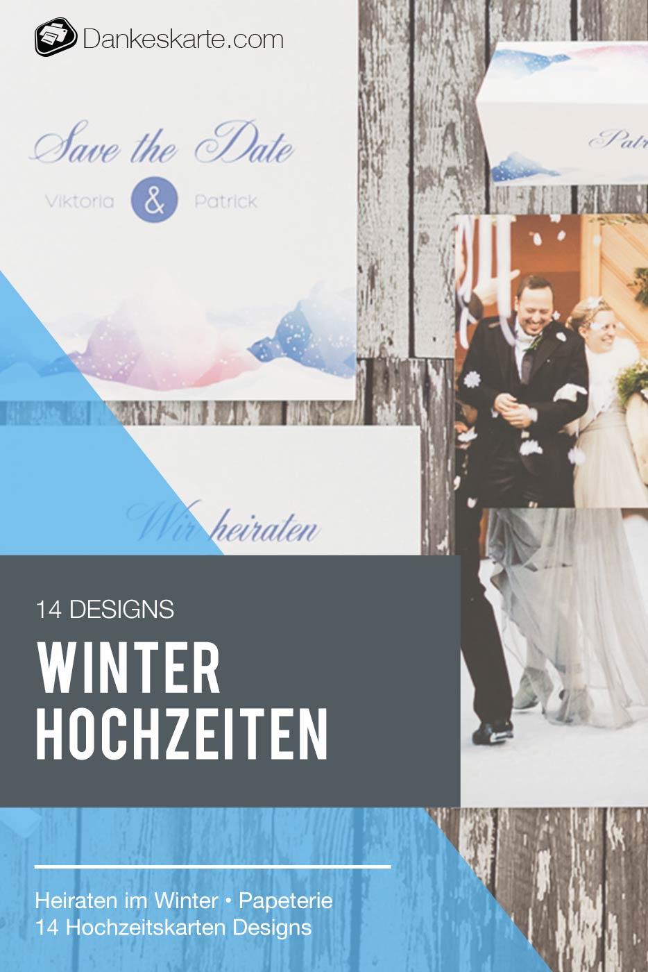 14 Hochzeitskarten Designs für deine Winterhochzeit - Dankeskarte.com