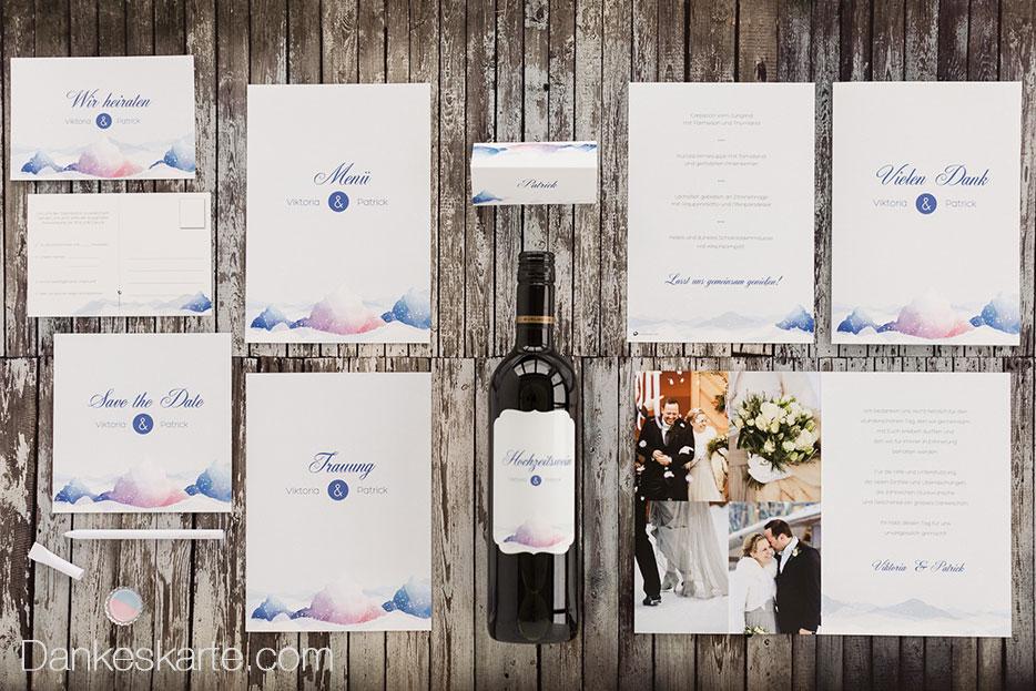 14 Hochzeitskarten-Designs für deine Winterhochzeit - Dankeskarte.com