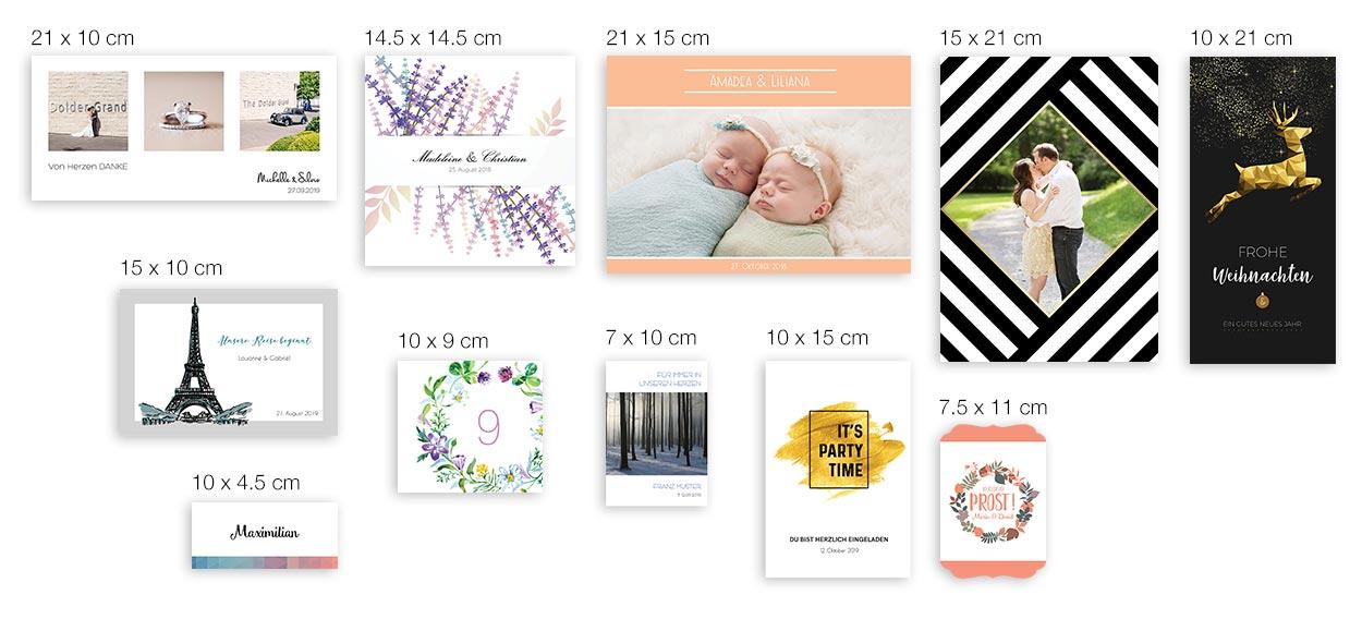 Kartenformat von Dankeskarte.com im Vergleich