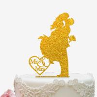 Cake Topper für die Hochzeitstorte mit Glitzeroptik