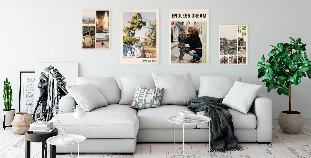Mehrere Holzbilder von Dankeskarte.com an der Wand