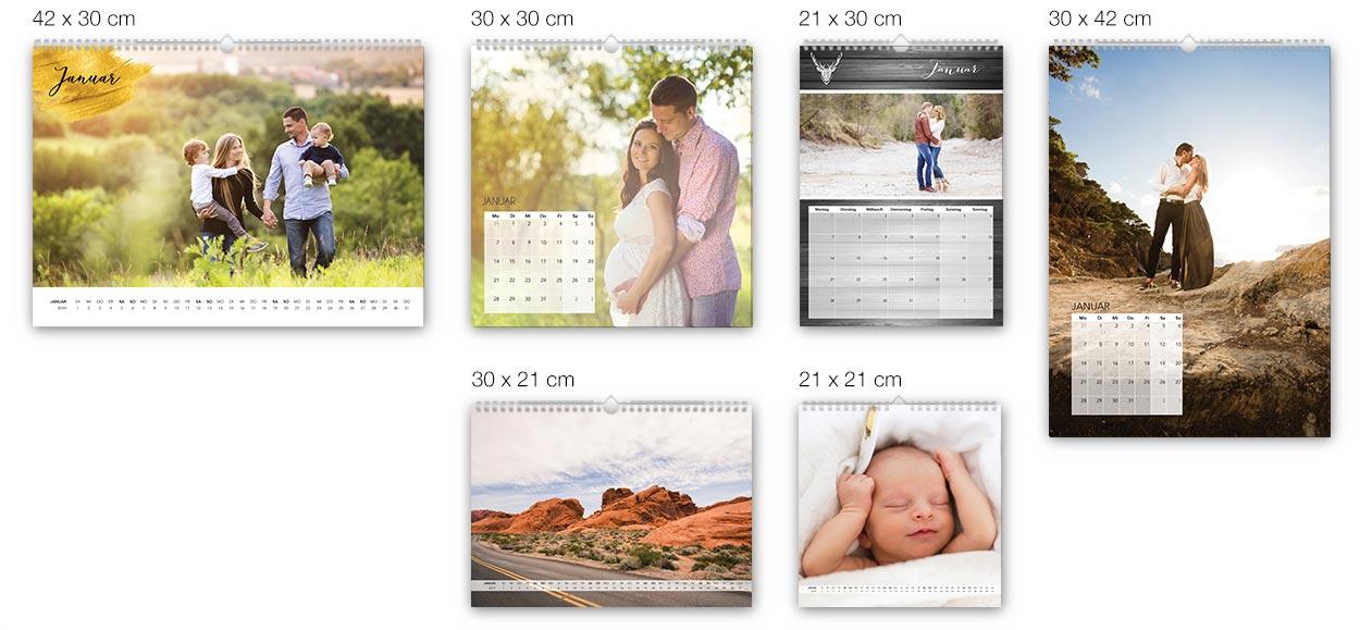 Unsere Fotokalender im Größenvergleich
