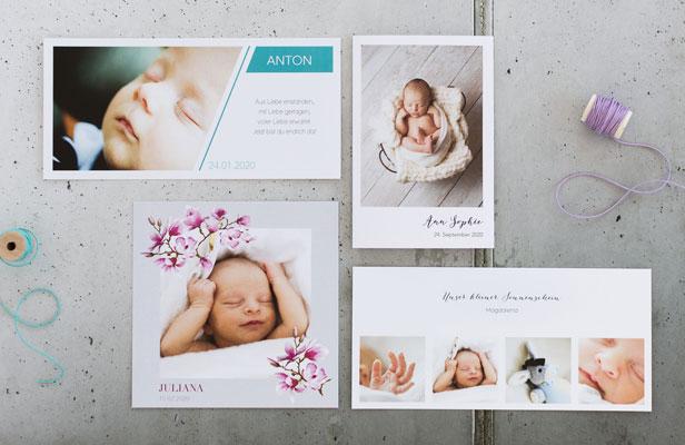 Geburtskarten mit Babyfotos - Dankeskarte.com