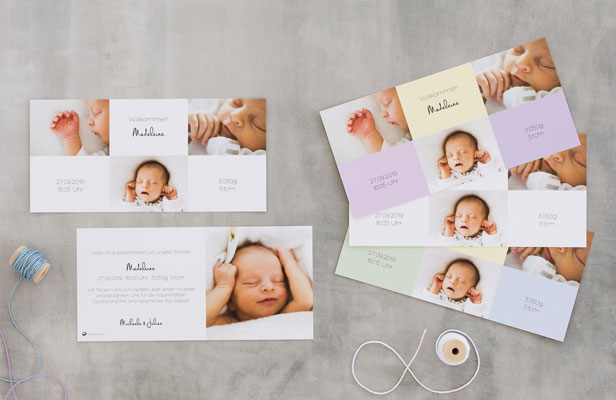 Geburtskarten online gestalten und drucken lassen - Dankeskarte.com