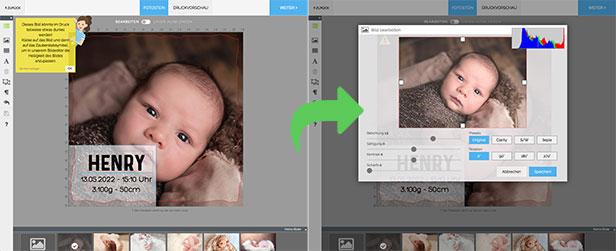 Bilder im Editor aufhellen - Dankeskarte.com