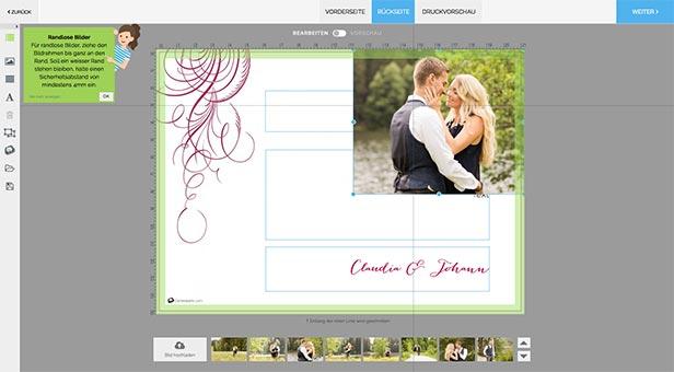 Positionierung von Bildern für den randlosen Druck - Dankeskarte.com