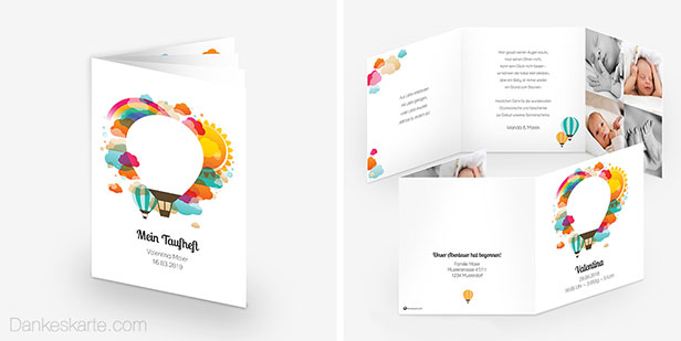 Taufheft und Babykarte der Designserie Heissluftballon  im Comic-Stil in kräftige Farben mit Heißluftballon und Regenbogen - Dankeskarte.com
