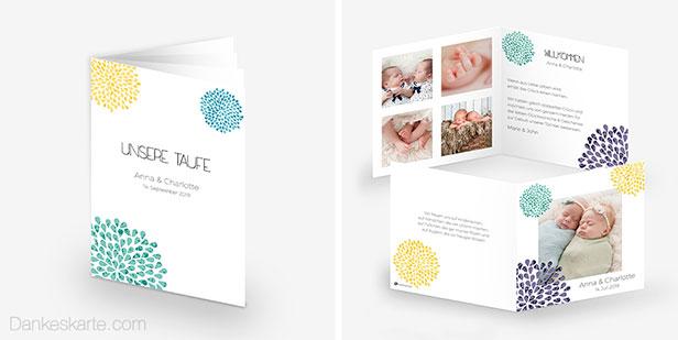 Taufheft und Geburtskarte der Designserie Blütenfeuerwerk mit bunten Blütenkreisen, die wie ein Feuerwerk wirken - Dankeskarte.com