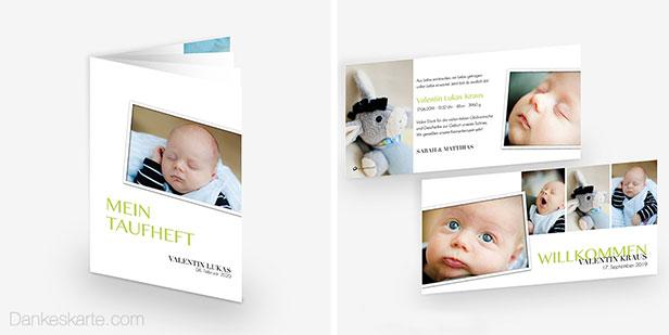 Babykarte und Taufheft des schlichten Designs Easy Three mit vielen Fotos des Täuflings - Dankeskarte.com
