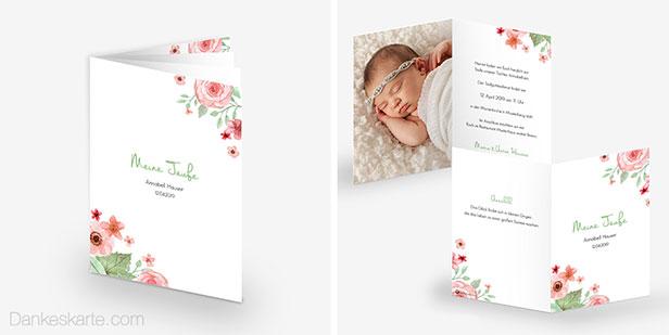 Taufkarte und Taufheft des Designs Total Floral mit Blumen und Blüten in Aquarelloptik, perfekt für eine Taufe im Frühling oder Sommer - Dankeskarte.com