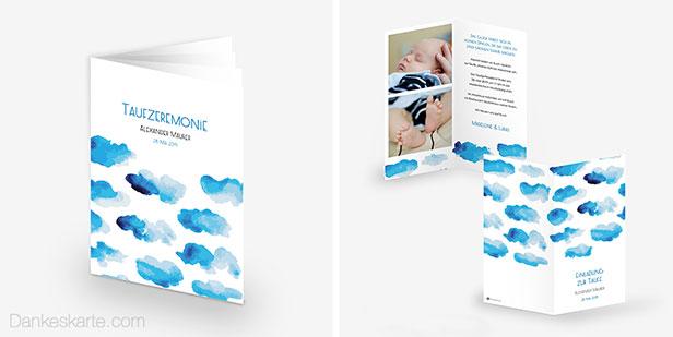Babykarte, Einladungskarte für die Taufe und Taufheft mit abstrakten Wolken in Aquarell-Optik in zartem Blau und Weiß - Dankeskarte.com