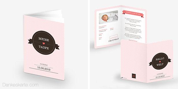 Geburtskarte und Taufheft der Designserie Zarte Tour mit rosa Punktemuster im Hintergrund und verspielten Bannern und Badges - Dankeskarte.com