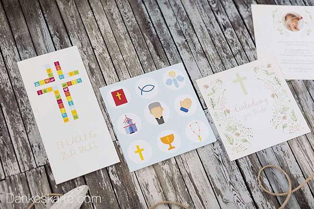 Taufkarten mit typischen Taufsymbolen - Dankeskarte.com