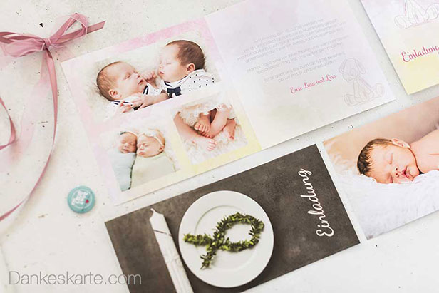 Collage con Taufkarten - Dankeskarte.com