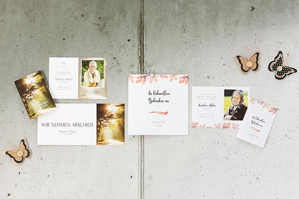 Trauerkarten und Sterbebilder im selben Design - Dankeskarte.com