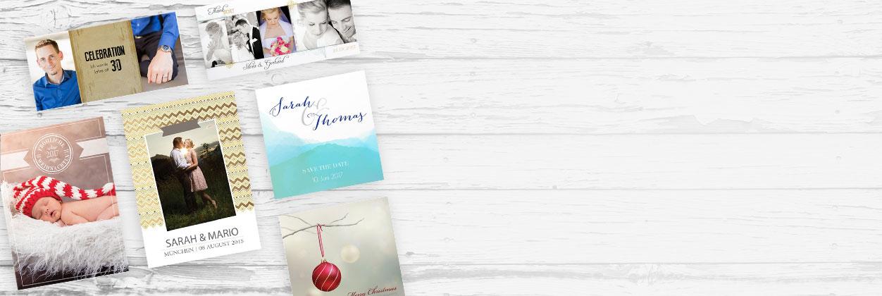 Einzigartige Designs für Dankeskarten online gestalten und drucken lassen