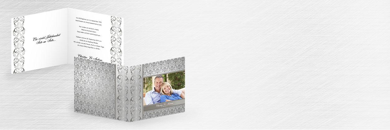 Einzigartige Designs für Einladungen zur silbernen Hochzeit online gestalten und drucken lassen