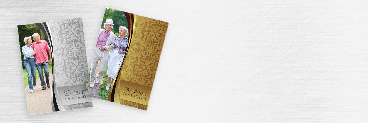 In nur 3 Schritten zur individuellen Jubiläums-Karte für die goldene oder silberne Hochzeit