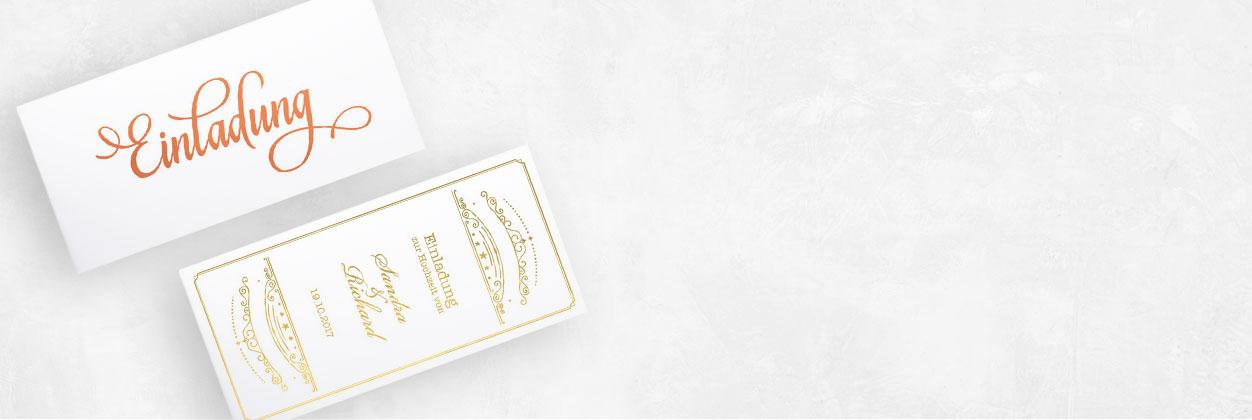 Designs für Hochzeitseinladungen mit Glanzfolierung online gestalten und drucken lassen