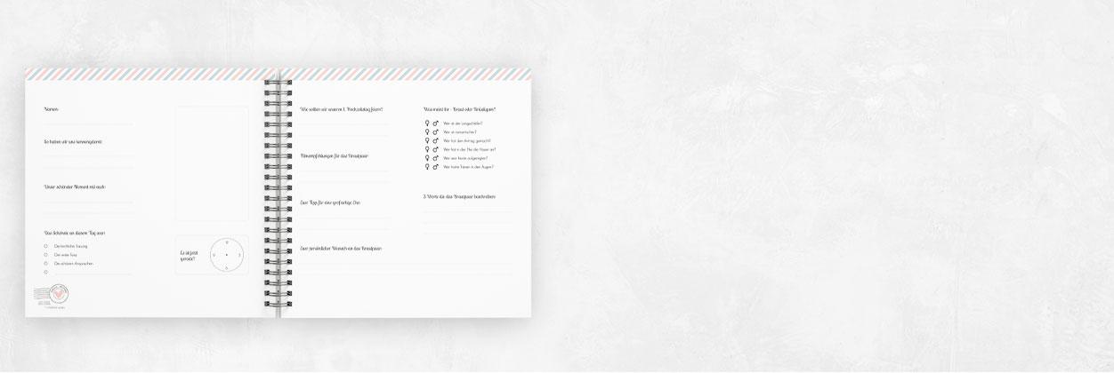 Ein Gästebuch mit Spiralbindung für deine Hochzeit